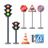 Traffic Sign And Lights Set. Traffic sign and lights realistic 3d decorative icons set isolated vector illustration Royalty Free Stock Photo