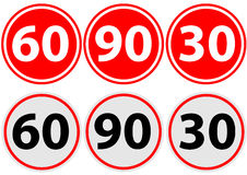 Traffic sign limit speed. Traffice sign limit speed 60 90 30 Royalty Free Stock Images