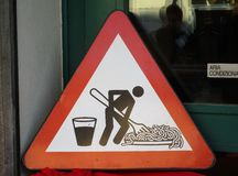 Traffic sign for lunchtime. A traffic sign that invites to have a lunch with spaghetti pasta and wine Stock Images