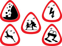 Traffic sign motive guitar pick / Plectrum set stock image