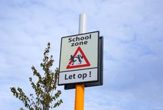 School zone traffic sign in the Netherlands royalty free stock images