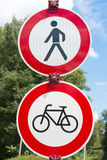 Traffic sign - no bicycling, no walking Royalty Free Stock Images