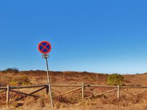 Traffic sign in nowhere. No parking allowed traffic sign in nowhere Stock Photos