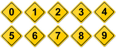 Traffic Sign Numbers. Numbers in Traffic sign stock images