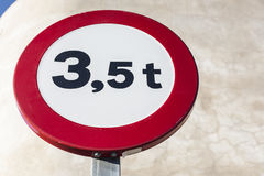 Traffic sign outdoors prohibiting throroughfare of vehicles with Stock Photography