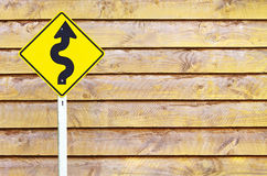 Traffic sign over wooden Royalty Free Stock Photography