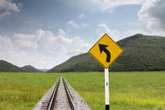 Traffic sign in pastures. Royalty Free Stock Photography
