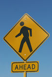 Traffic Sign - Pedestrian Crossing. Against Blue Sky Stock Photography