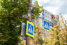 Traffic sign pedestrian crossing with CCTV camera Royalty Free Stock Image