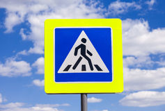 Traffic sign pedestrian crossing Royalty Free Stock Images