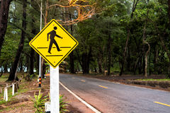 Traffic sign pedestrian crossing near beach Royalty Free Stock Photo