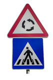 Traffic sign for pedestrian crossing and roundabout sign Royalty Free Stock Image