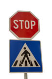 Traffic sign for pedestrian crossing and Stop sign Royalty Free Stock Photos