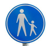 Traffic sign for pedestrian only route. Isolated on white stock image