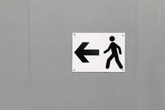 Traffic Sign: Pedestrians Way. With Arrow on Grey Wood background royalty free stock photography