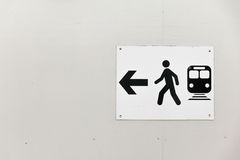 Traffic Sign: Pedestrians Way and Bus. With Arrow on White Wood background royalty free stock photo