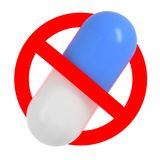 Traffic sign with pill, No drugs concept Stock Photo
