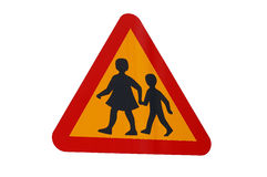 Traffic sign playing children Stock Photography