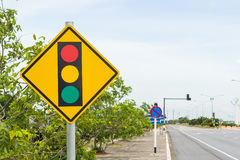 Traffic sign post on road Stock Photography