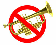 Traffic sign prohibited beeps with real trumpet Royalty Free Stock Images