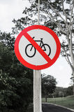 Traffic sign of prohibited bicycles Royalty Free Stock Photography
