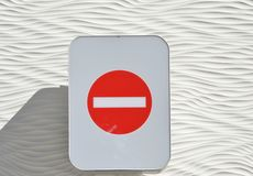 Traffic sign prohibited direction. On the garage royalty free stock image
