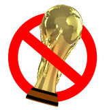 Traffic sign prohibited world cup. 3d illustration Royalty Free Stock Photography