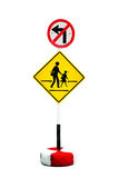 Traffic sign prohibiting a left turn Stock Photos