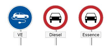 Diesel ban - traffic sign. Traffic sign prohibiting the use of diesel and gasoline vehicles and permitting the use of  e-cars only in French Royalty Free Stock Image