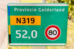 Traffic sign on a provincial road Royalty Free Stock Image