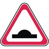 Traffic sign, retarder, red triangle shape vector illustration