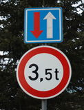 Traffic sign, right of way, tonnage vehicles Royalty Free Stock Images