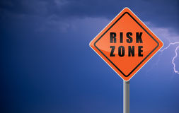 Traffic sign risk zone. Royalty Free Stock Photography