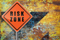 Traffic sign risk zone grunge. Stock Photo