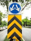 Traffic sign on road. Royalty Free Stock Photos