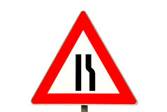 Traffic sign road constriction Royalty Free Stock Photography