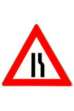 Traffic sign road constriction Royalty Free Stock Photos