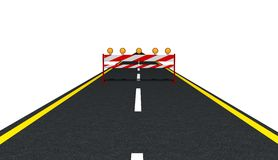 Traffic Sign on the Road. 3d rendered image of Traffic Sign on the Road, front view Stock Photos