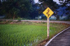 Traffic sign on rural route.  royalty free stock photos