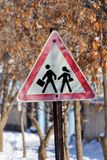 Traffic Sign for Safe Driving and Winter Season.  Stock Image