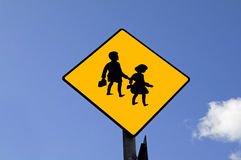 Before school. Traffic sign Stock Photo