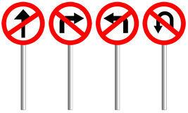 Traffic sign of  4 set with pole. Royalty Free Stock Images