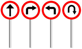 Traffic sign of  4 set with pole. Royalty Free Stock Photography