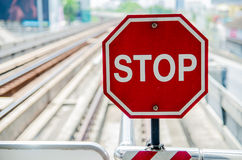 Traffic sign on skytrain Stock Photo