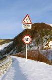 Traffic sign Slippery road Stock Image