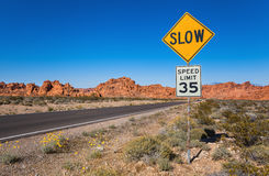 Traffic Sign Slow, Southern Nevada. Traffic Sing Slow, Valley of Fire State Park, Nevada, USA stock photography