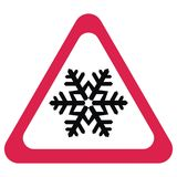 Traffic sign, snow alert, red triangle symbol Stock Image