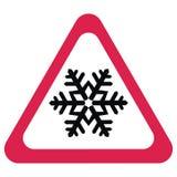 Traffic sign, snow alert, red triangle symbol stock illustration