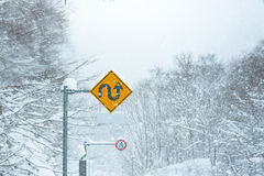 Traffic sign in snow Stock Photos