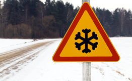 Traffic sign (snowflake) Stock Images